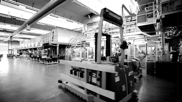 Production department. Automated shuttle. Empoli plant (Florence - Italy).